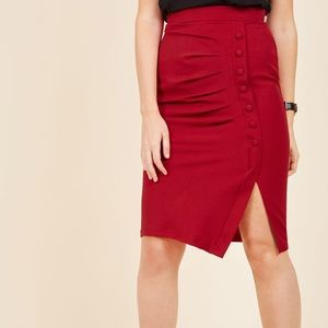 Red Midi Skirt with Ruched Button Detailing